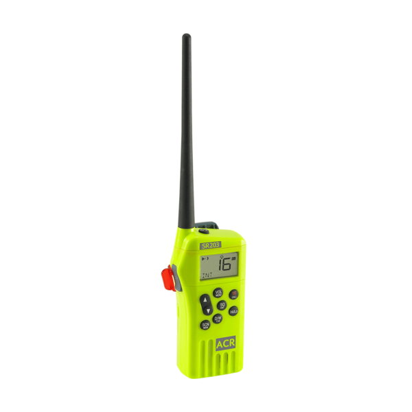 Sr203 vhf handheld survival radio accessories left angle